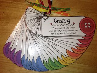 Bloom's Buttons Children choose a button from a jar and a corresponding card with an analysis and reasoning question on it. Make book-related questions or collections for activity centers. Practice CLASS instructional Support skills!