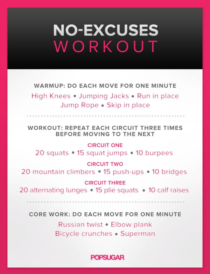 Lack of a gym membership is no longer an excuse for skipping workouts. Instead of relying on equipment, let your body be the gym. These 13 bodyweight workouts are effective, easy to follow, and plenty of fun like this No-Excuses Workout