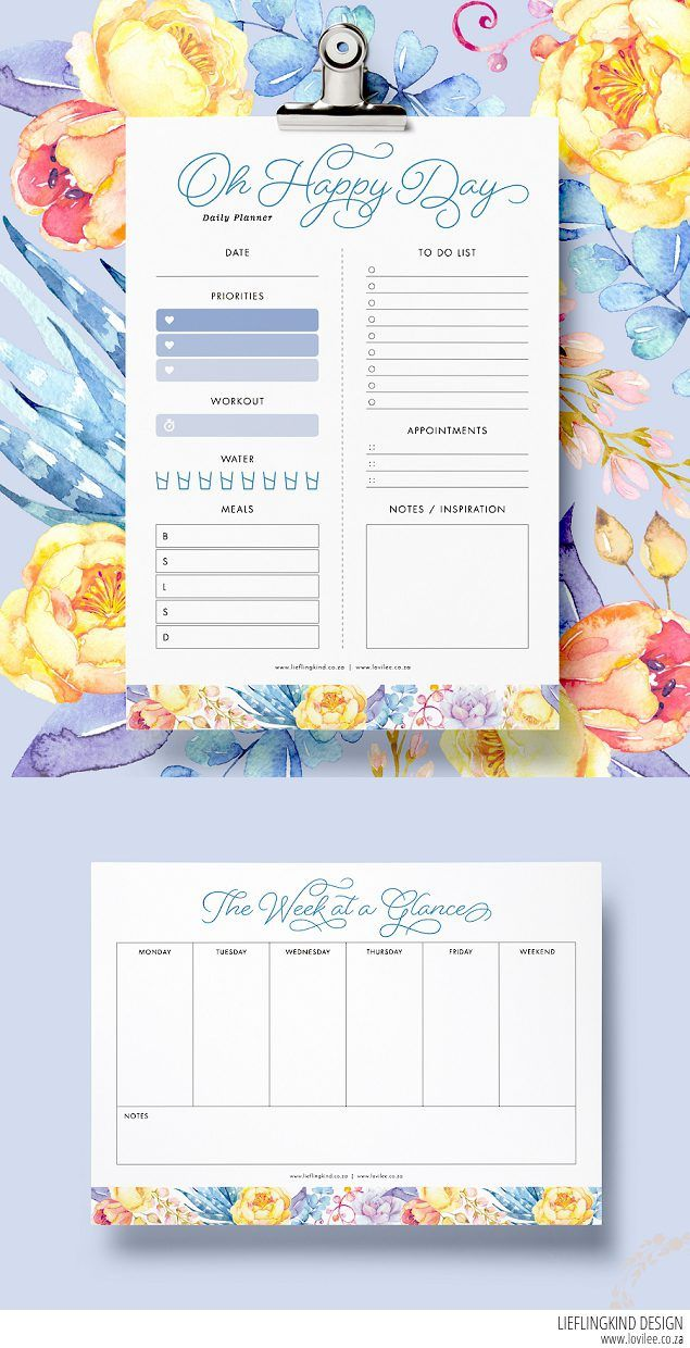 daily and weekly free planner printables
