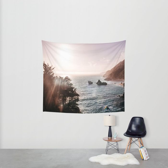 Wall Tapestry. Mist is always rising from the crashing Pacific waves along the Big Sur, California coast. In the evening, the western sun shines through the water particles and paints a glorious light display through the seemingly touchable sky.