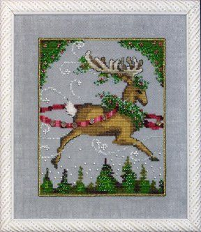 """From Nora Corbett's Christmas Couriers is this cross stitch pattern titled """"Blitzen"""" that is stitched with DMC threads. You will also need K..."""