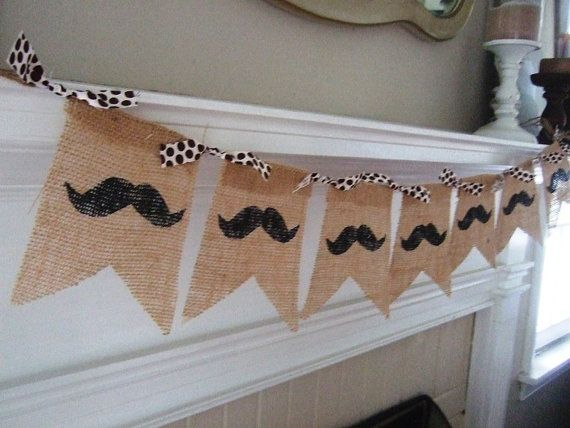 MUSTACHE PARTY - Burlap Banner - Brown Polka Dots - Stag Party - Boys Birthday