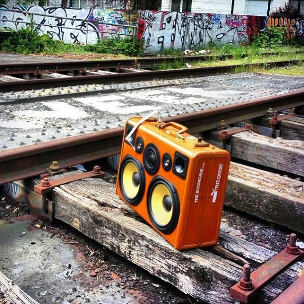BoomCase: It's style is somewhat of a clone between vintage luggage and a classic boom box. The Portable speakers work with any device that uses a USB or headphone jack. Plug it in or rock out for up to ten hours on its internal rechargeable battery. Handmade & fully customizable. Complete with Subwoofer , tweeters and up to 400watts of power.