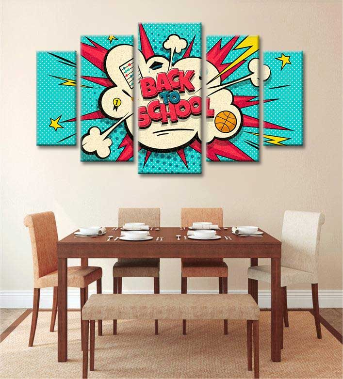 Back To School Pop Art Vector Illustration Canvas Art Wall Decor Pop Art Canvas Wall Art