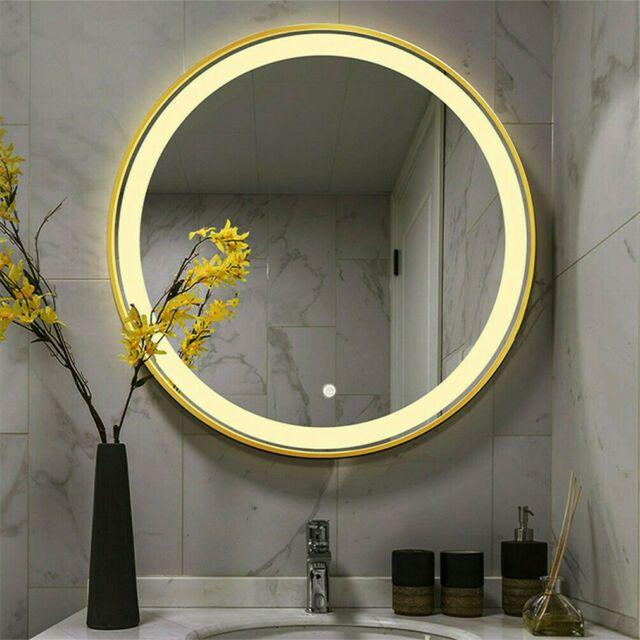 Round Led Bathroom Mirror Demister With Lights Belt Anti Fog Ip44 500 X 500mm In 2020 Bathroom Mirror Led Mirror Bathroom Round Mirror Bathroom