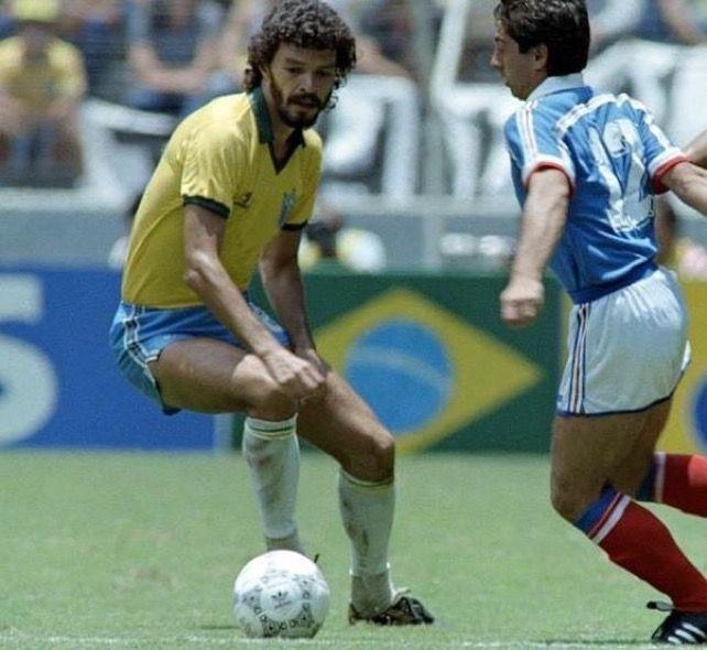 Brazil 1 France 1 (3-4 pens) in 1986 in Guadalajara. Alain Giresse takes on Socrates in the World Cup Quarter Final.