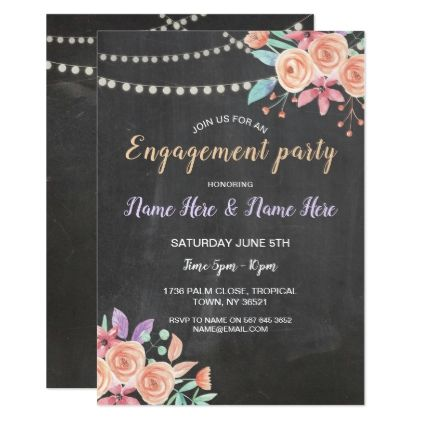 Engagement Party Watercolor Flowers Peach Invite - wedding shower gifts party ideas diy cyo personalize