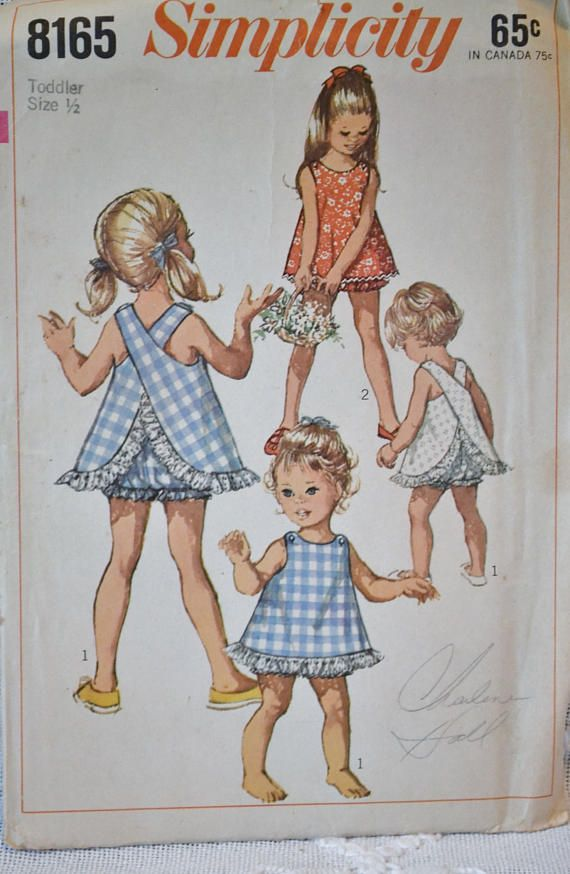 Vintage Simplicity 8165 Sewing Pattern Crafts Toddler Top and Bloomers Size 1/2 DIY Sewing Crafts PanchosPorch  Vintage Simplicity 8165 sewing pattern. Toddler top and bloomers Size 1/2 The pattern has been cut. Envelope shows wear. Instruction are included.  Love to combine shipping with more than one item. Send me your zip code for a more accurate cost!  Should your shipping cost seem on the high side, please contact me-more than happy to adjust the amount to actual cost.  Smoke f...