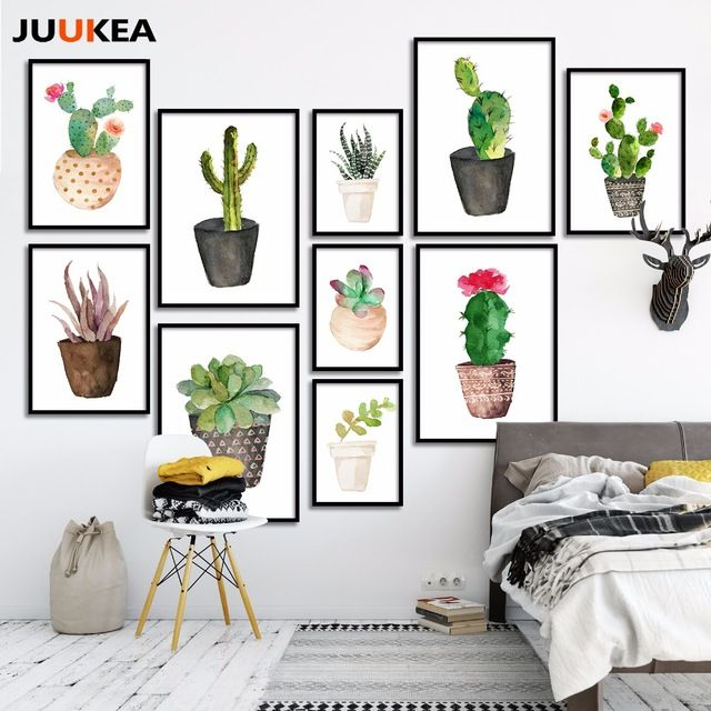 Nordic Wall Painting Cactus Succulent Green Plant Art Print Drawing Room Decor
