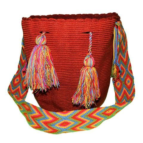 Marron The bags are 100% handmade, using various weaving techniques and sizes. The patterns, shading, and detail vary from bag to bag depending on the weaver. A bag can take an experienced weaver up to a number of weeks  to complete while also tending to her family and duties as a mother. Each bag has a unique identifier code. All our Mochila Bags are carefully made from fine thread.