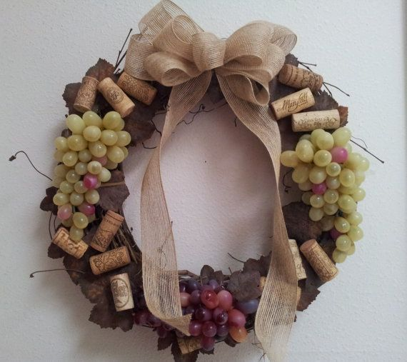Wine Cork Grapevine Wreath by KBKreationsShop on Etsy, $35.00