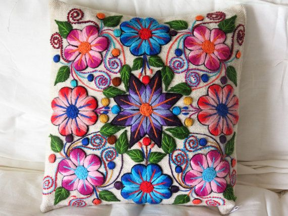 Peruvian Pillow sham Wool from Peru Embroidered in by ArteOtomi, $55.00