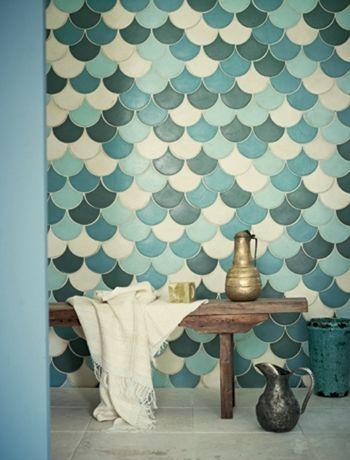 love love the tile shape, and mix of blues. think i prefer them turned 180 degrees tho