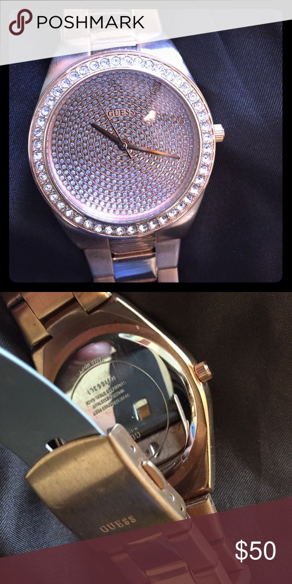 Ladies Rose gold guess watch Large rose gold watch face with additional links good condition. Barely worn Guess Accessories Watches