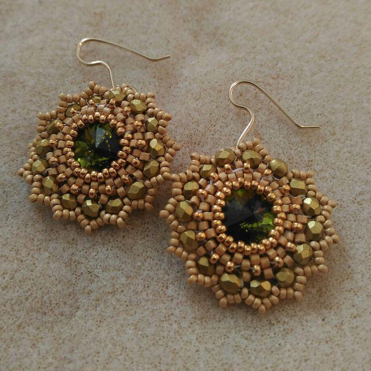 Gold and green beaded earrings by RamixBijoux