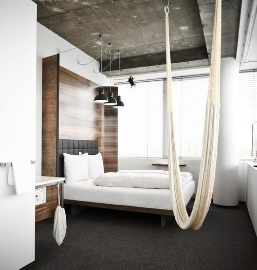 #interiors #bedroom #wood #minimal #hammock #concrete