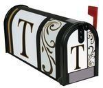 "Monogram T"" Magnetic Mailbox Cover"" by Carson. $9.99. Each mailbox cover and front face has attached magnetic strips.. Includes a sheet of vinyl numbers & zip ties.. Fits standard sized mailboxes, 6.5""W x 19""L. Made of durable fade resistant vinyl and will not crack or tear.. Mailbox Cover and Front face may be trimmed for a custom fit.. Give your mailbox a new look for every season and reason! Magnetic mailbox covers are offered in a wide variety of unique desig..."