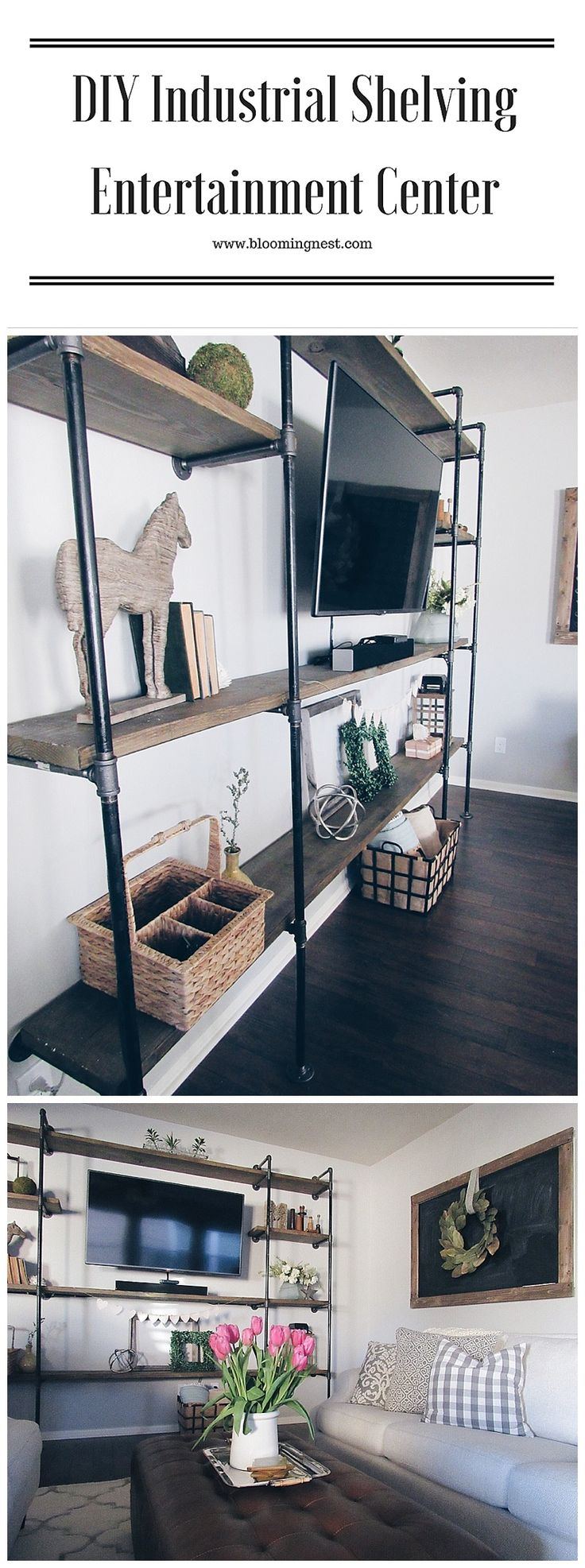 DIY Industrial Shelving Entertainment Center