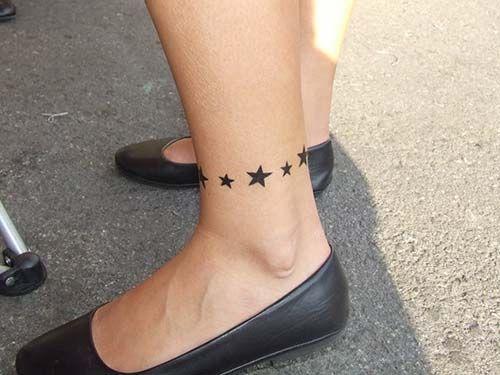 stars ankle tattoo ayak bileği yıldız dövmesi