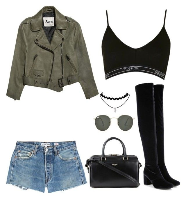 """🌱"" by parisianights on Polyvore featuring moda, Yves Saint Laurent, RE/DONE, Topshop, Acne Studios, Ray-Ban, outfit, denim, day ve polyvoreeditorial"