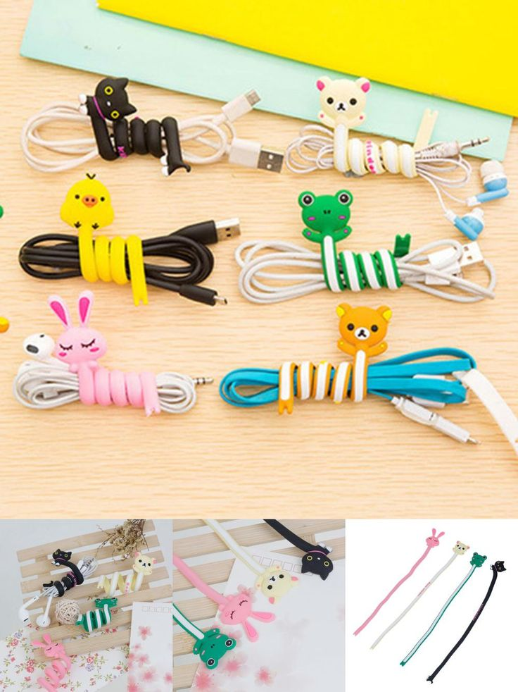 [Visit to Buy] 1 PC Cartoon Cable Winder Wire Cable Ties TV Computer Earphone Cable Wire Organizer Holder Cable Winding Thread Tool At Random #Advertisement
