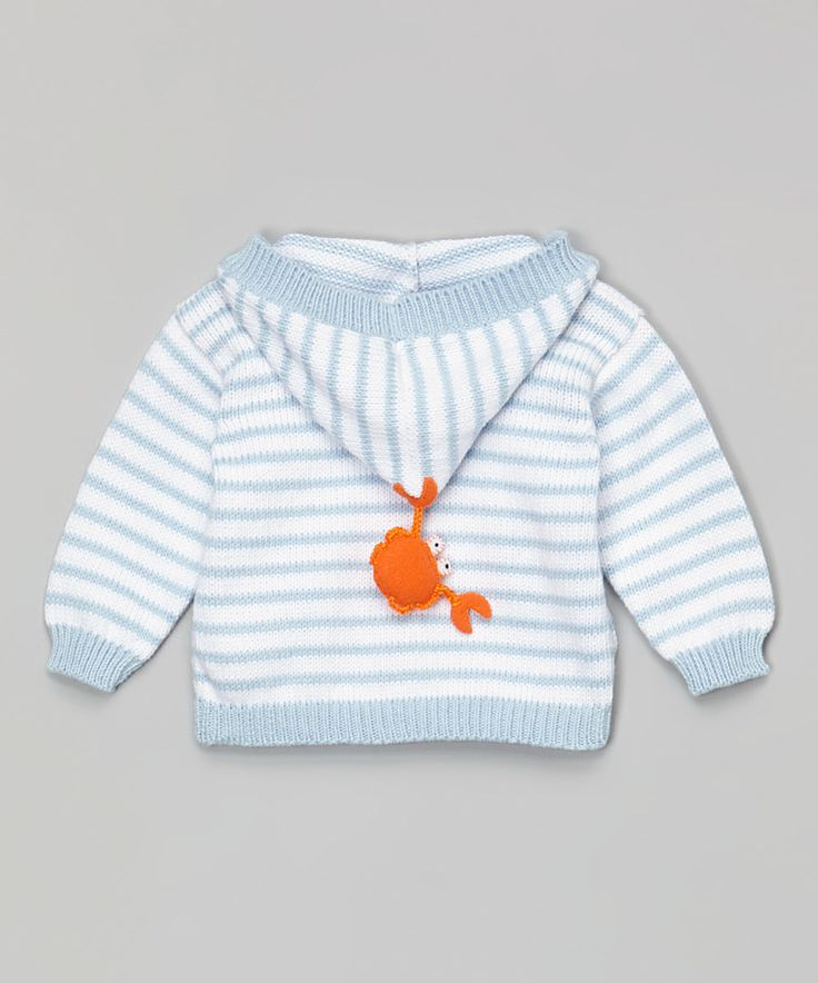 Another great find on #zulily! Blue & White Stripe Crab Hooded Cardigan - Infant by Victoria Kids Layette #zulilyfinds