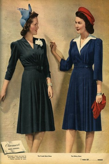 Fall fashion trends of the 1940s : A V neckline helps shape a more streamlined figure. Accessorize with a small, fitted hat for a pop of color. Sears Catalog fall/winter 1942-43