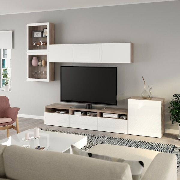 Besta Agenc Rangt Tele Vitrines Effet Noyer Teinte Gris Selsviken Verre Transparent Blanc Bri In 2020 Wall Cabinets Living Room Living Room Units Beige Living Rooms