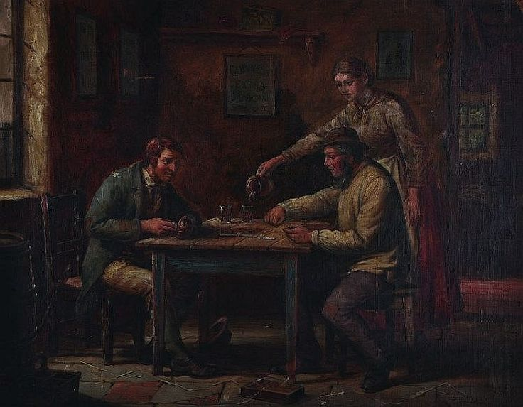 Septamus Dawson (1851-1914) British. An Interior of a Tavern, with Men Playing Domino's, and a Girl serving drinks, Oil