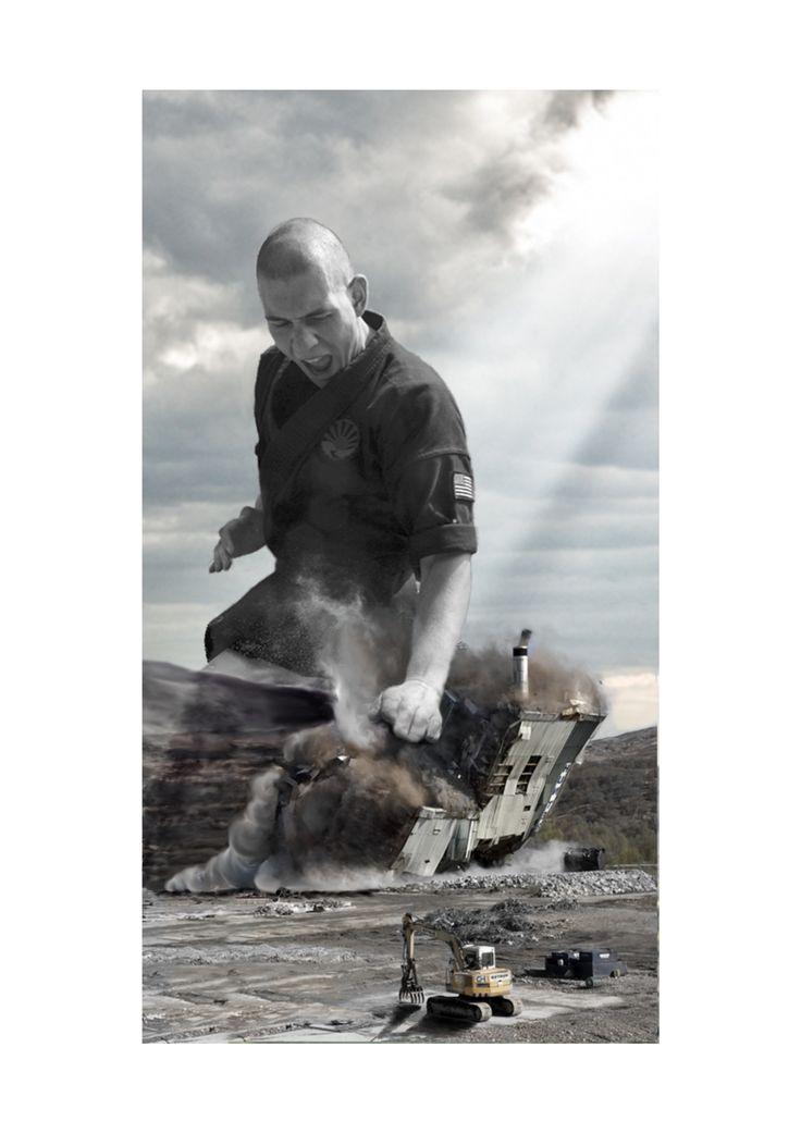 Photo collage of breaking through borders. Karate.