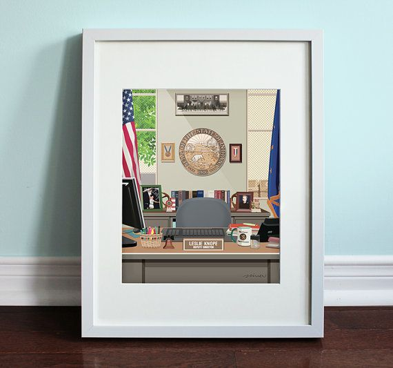 Leslie Knope's Office - Parks and Recreation, Parks and Rec Art Print, TV Sitcom