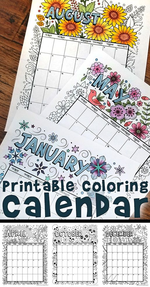 printable coloring calendar for 2019 and 2018 household plannerorganizing binder printables pinterest calendar printable coloring and coloring
