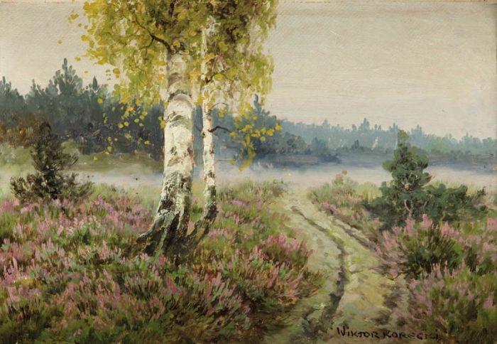 Wiktor Korecki - Wiosenny pejzaż z brzozami