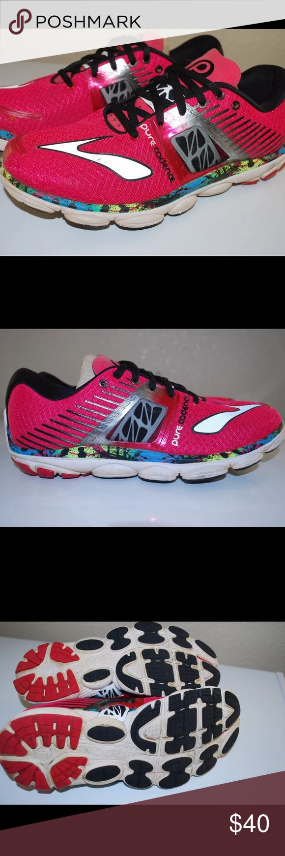 Brooks Cadence running shoes Brooks Cadence brightly colored ladies running shoes. Great condition and still have lots of life left in them! Brooks Shoes Athletic Shoes
