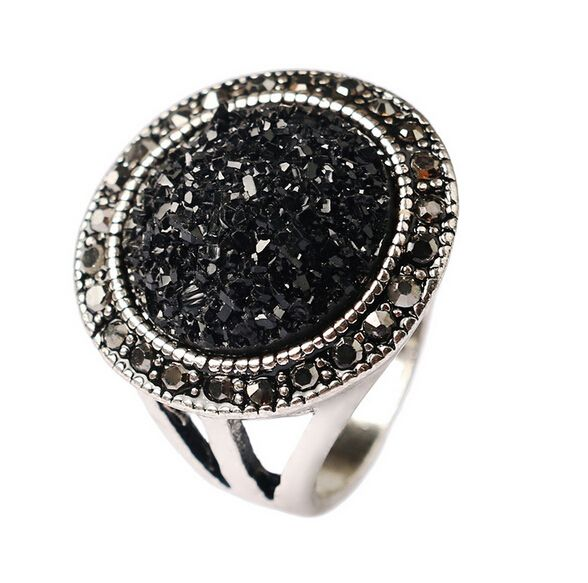 HOTselling Fashion Black Antique Stone Rings For Women Bohemia Silver Plated Jewelry Live To Ride Engagement rings Accessories