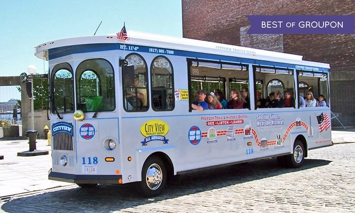 Groupon Cityview Trolley Tours - Boston: Trolley Tour and Harbor Cruise for One, Two, or Four from CityView Trolley Tours (Up to 50% Off)