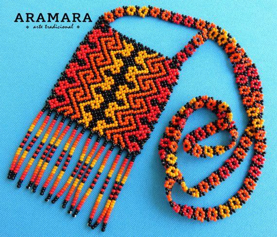Mexican Huichol Orange and Red Necklace COM-0011 by Aramara