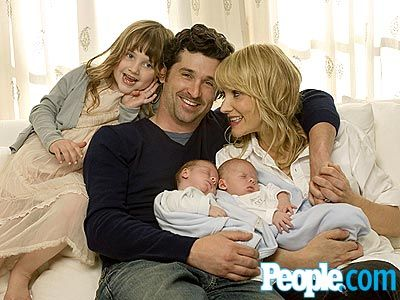 "With the little ones fast asleep, Dempsey, makeup artist wife Jillian and their daughter Talula, 5, share a happy moment at home in Los Angeles. The new dad admits that when the couple first learned they were expecting not one, but two new additions, ""I was a little overwhelmed."" : People.com"