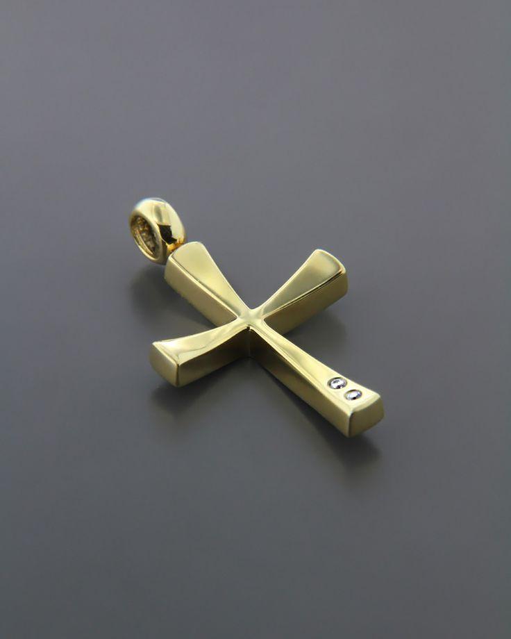 Σταυρός βάπτισης χρυσός K14 με Ζιργκόν