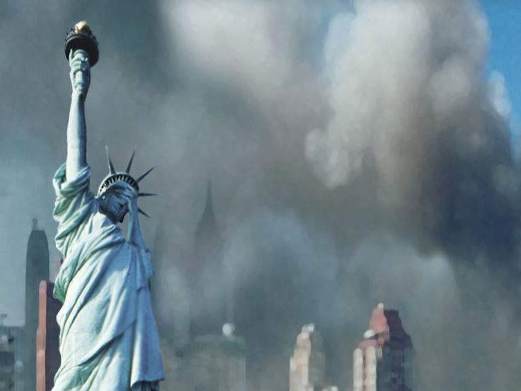 New York City on September 11, 2001, with a bit of photo manipulation on Miss Liberty...
