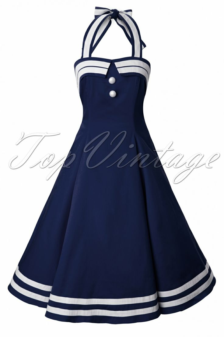 Collectif Clothing - COLLECTIF 50s Sindy Doll Sailor navy swing dress