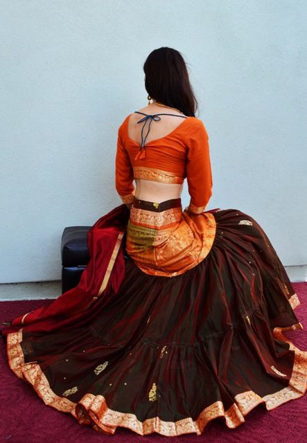 Shimmering Two Tone   Dancing Gopi Skirt Outfits