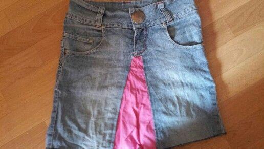 Ein Rock für mich aus einer jeans und stoffresten