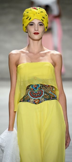 Dorin Negrau - Runway - Mercedes-Benz Fashion Week Fall 2015. yellow dress