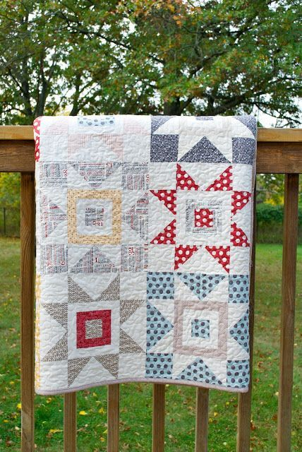 Gorgeous quilt to learn quilting with - Sawtooth Star Quilt