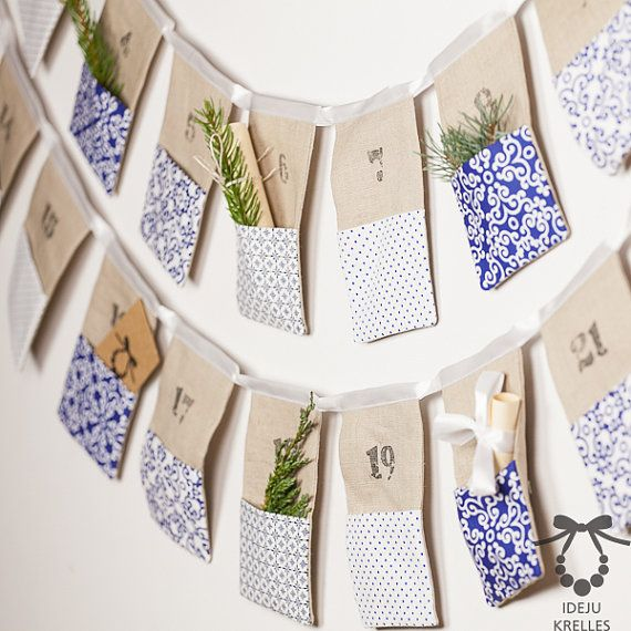 Christmas Bunting Advent Calendar Linen Advent by idejukrelless