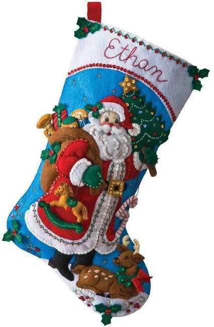 Traditional Santa Christmas Stocking - Felt Applique Kit