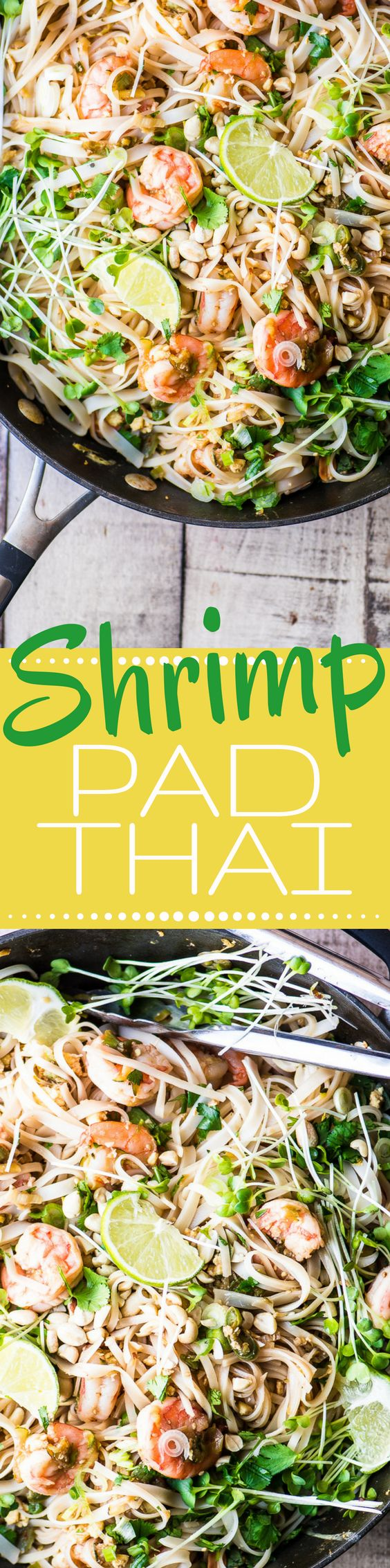 Shrimp Pad Thai is a healthy stir fry noodle bowl that is so much better than take out! | Asian | Thai | gluten free | seafood | (Gluten Free Recipes Shrimp)