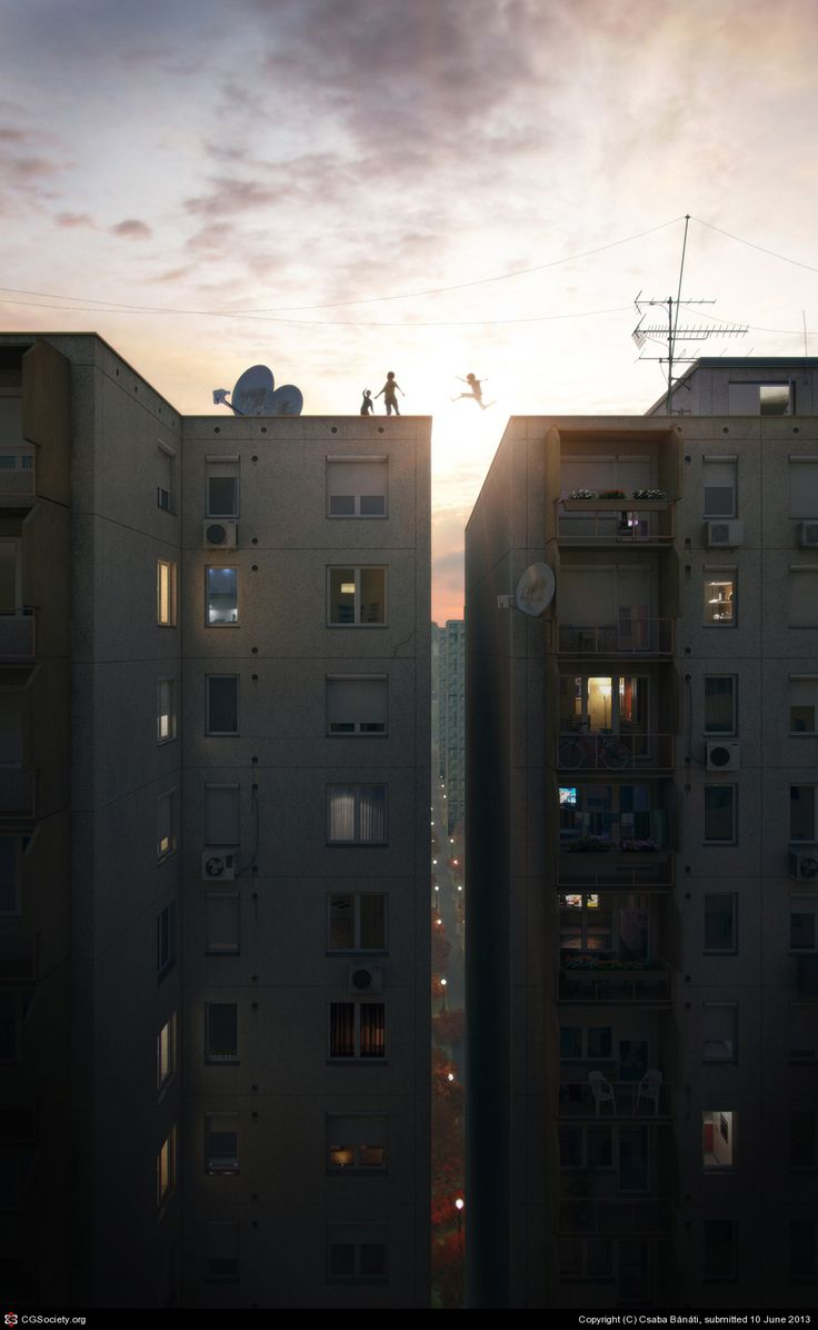 """Csaba Bánáti, Hungarian CG artist, made this amazing visualization. He said: """"I grew up between these blocks and when i was a kid there was this notorious daring game. I've never jumped..."""""""