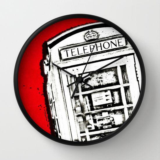 London Phone Box, Abstract, Red Wall Clock